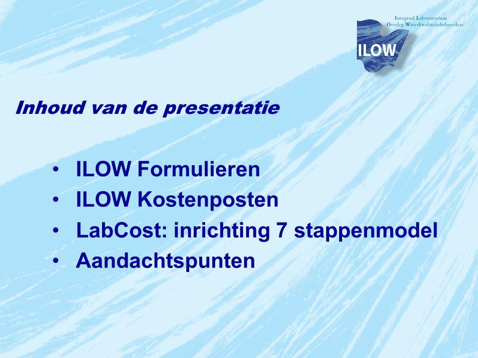 Inhoud van de presentatie ILOW Formulieren ILOW Kostenposten LabCost: inrichting 7 stappenmodel Aandachtspunten
