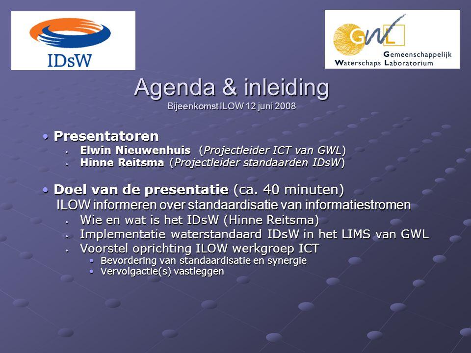 Agenda & inleiding Bijeenkomst ILOW 12 juni 2008 Presentatoren Presentatoren Elwin Nieuwenhuis (Projectleider ICT van GWL) Elwin Nieuwenhuis (Projectleider ICT van GWL) Hinne Reitsma (Projectleider standaarden IDsW) Hinne Reitsma (Projectleider standaarden IDsW) Doel van de presentatie (ca.