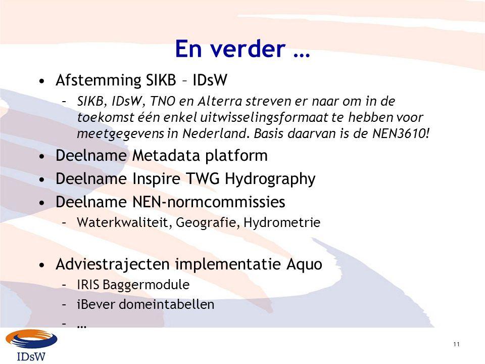 11 En verder … Afstemming SIKB – IDsW –SIKB, IDsW, TNO en Alterra streven er naar om in de toekomst één enkel uitwisselingsformaat te hebben voor meetgegevens in Nederland.