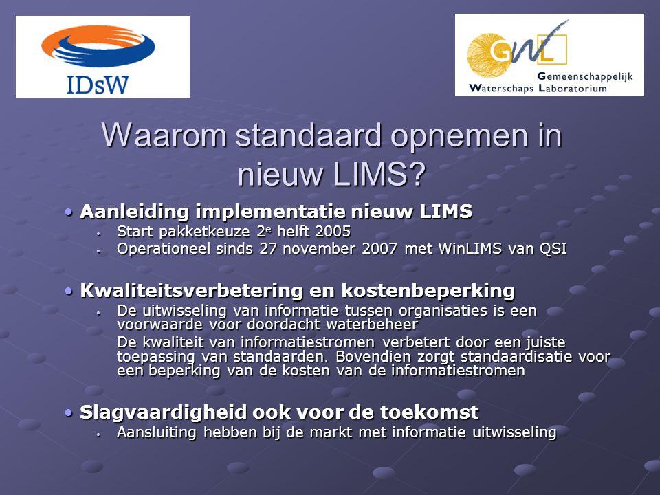 Waarom standaard opnemen in nieuw LIMS? Aanleiding implementatie nieuw LIMS Aanleiding implementatie nieuw LIMS Start pakketkeuze 2 e helft 2005 Start