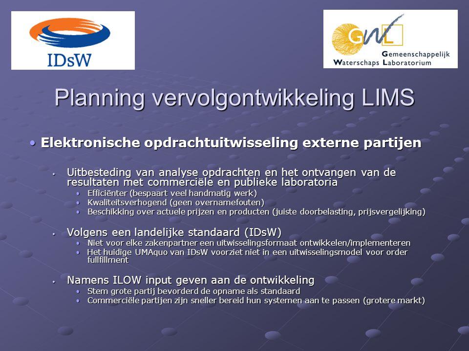 Planning vervolgontwikkeling LIMS Elektronische opdrachtuitwisseling externe partijen Elektronische opdrachtuitwisseling externe partijen Uitbesteding