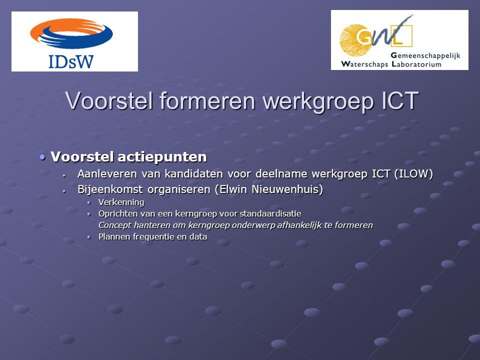Voorstel formeren werkgroep ICT Voorstel actiepunten Voorstel actiepunten Aanleveren van kandidaten voor deelname werkgroep ICT (ILOW) Aanleveren van