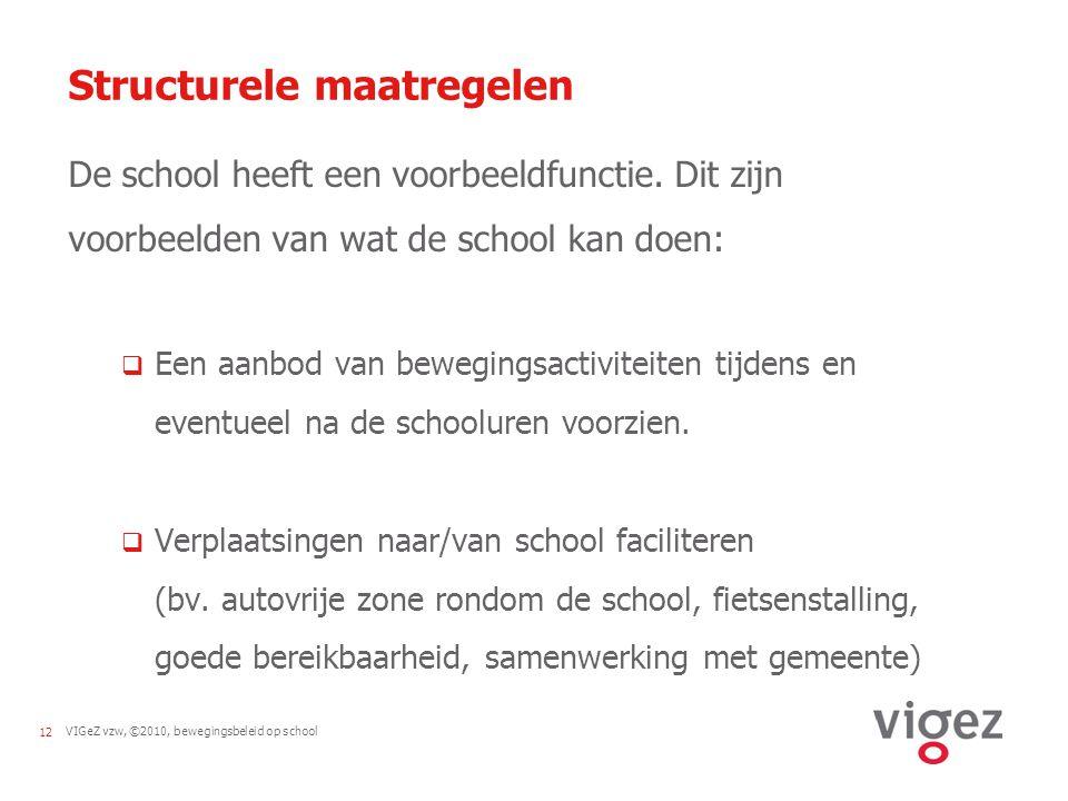 VIGeZ vzw, ©2010, bewegingsbeleid op school12 Structurele maatregelen De school heeft een voorbeeldfunctie.