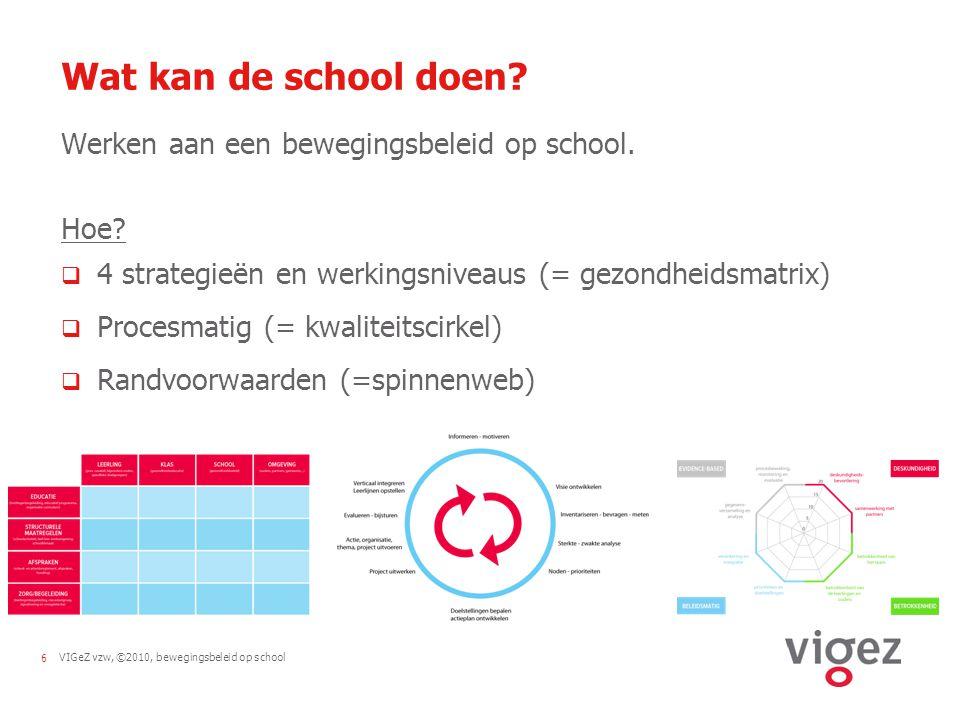 VIGeZ vzw, ©2010, bewegingsbeleid op school6 Wat kan de school doen.