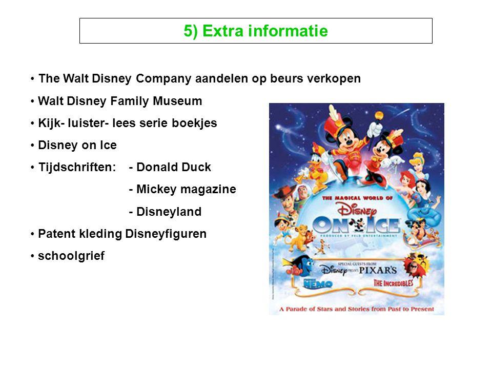 5) Extra informatie The Walt Disney Company aandelen op beurs verkopen Walt Disney Family Museum Kijk- luister- lees serie boekjes Disney on Ice Tijds