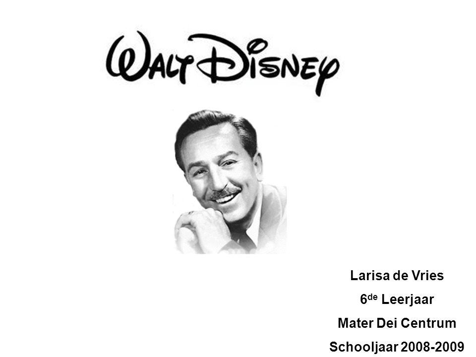 1) Naam, geboortedatum, sterfdatum, woonplaats, … Walter Elias Disney 5 december 1901 in Chicago 15 december 1966 in Los Angeles Producent, ontwerper, schrijver en een regisseur van tekenfilms en Hollywoodfilms Los Angeles