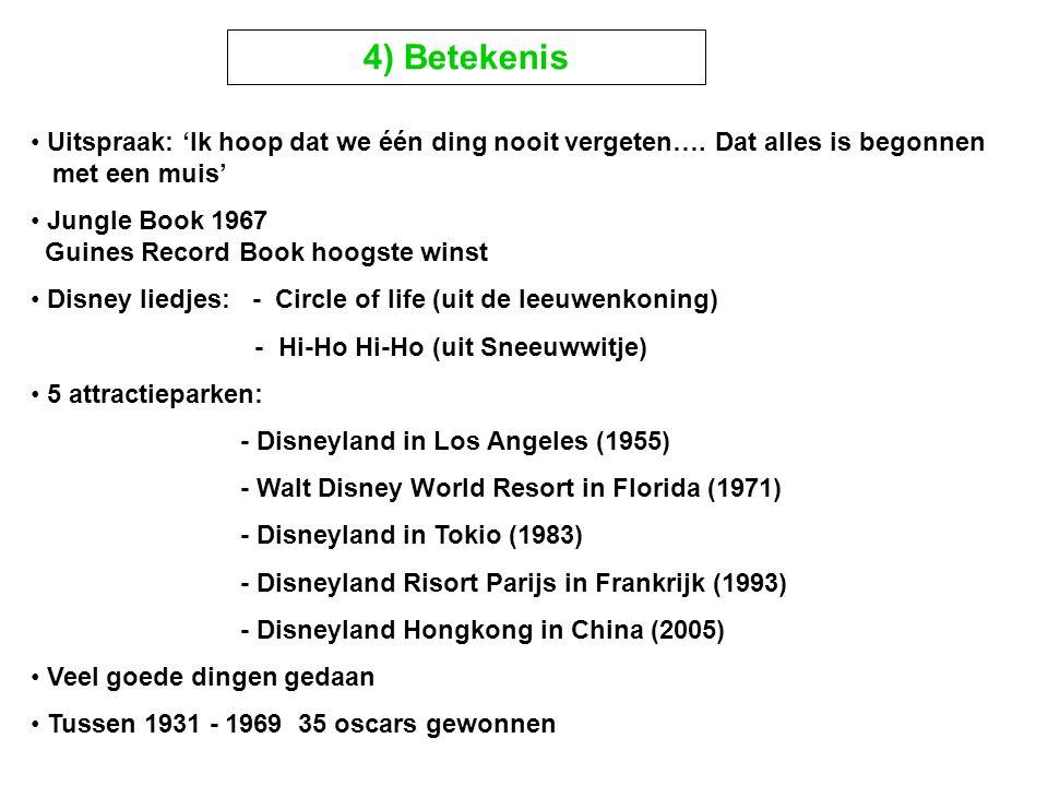 Uitspraak: 'Ik hoop dat we één ding nooit vergeten…. Dat alles is begonnen met een muis' Jungle Book 1967 Guines Record Book hoogste winst Disney lied