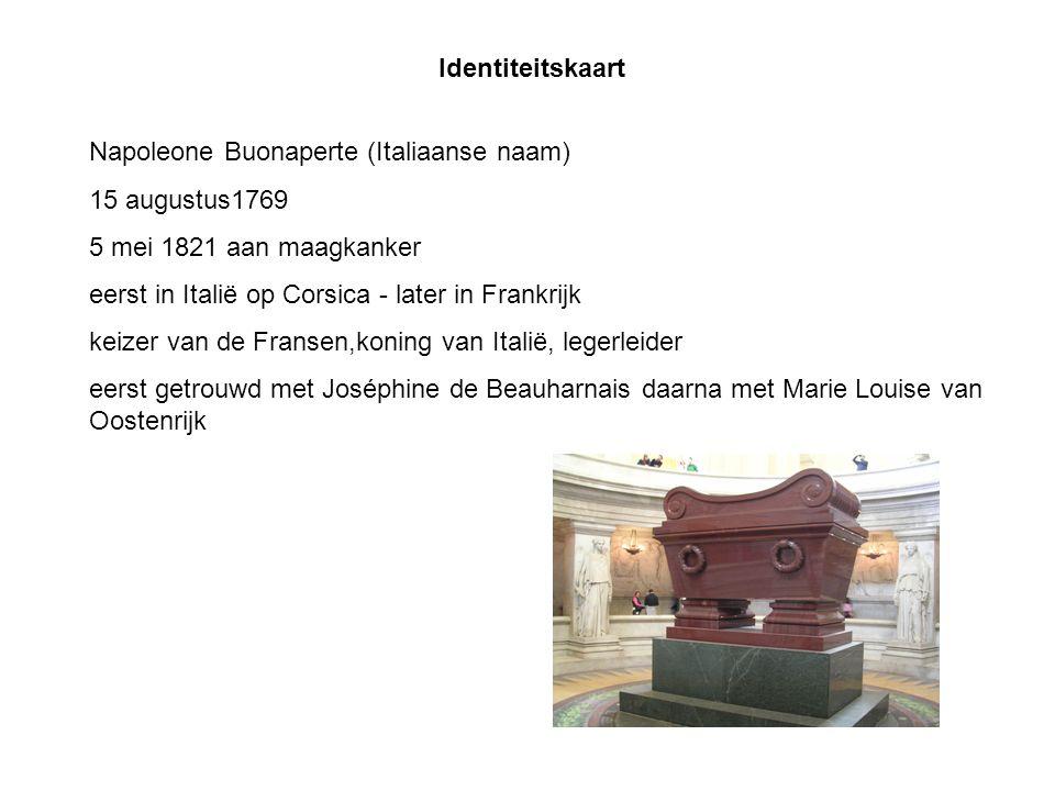 Identiteitskaart Napoleone Buonaperte (Italiaanse naam) 15 augustus1769 5 mei 1821 aan maagkanker eerst in Italië op Corsica - later in Frankrijk keiz