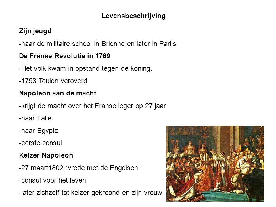 Levensbeschrijving Zijn jeugd -naar de militaire school in Brienne en later in Parijs De Franse Revolutie in 1789 -Het volk kwam in opstand tegen de koning.