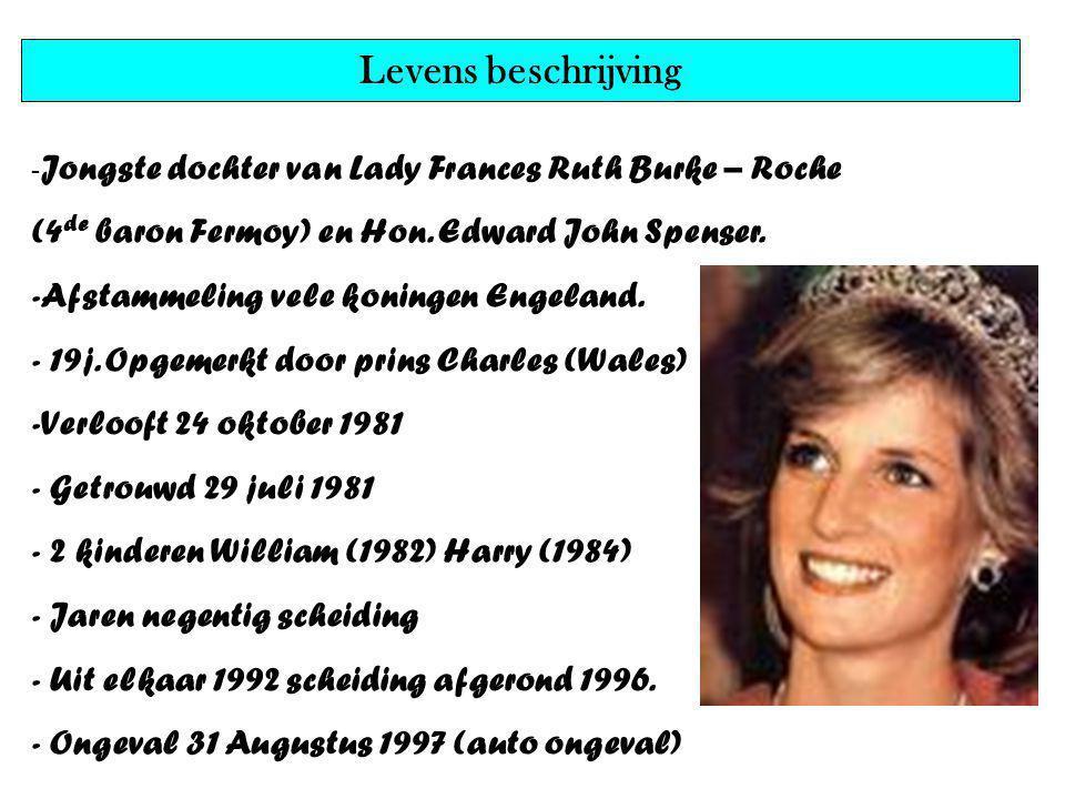 Naam, geboortedatum, geboren, gestorven,beroep,… - Lady Daina Frances Spencer - 1 juli 1961 - Groot-Brittanie - 31 augustus 1997 - Prinses