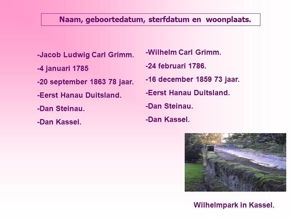 Naam, geboortedatum, sterfdatum en woonplaats. -Jacob Ludwig Carl Grimm.
