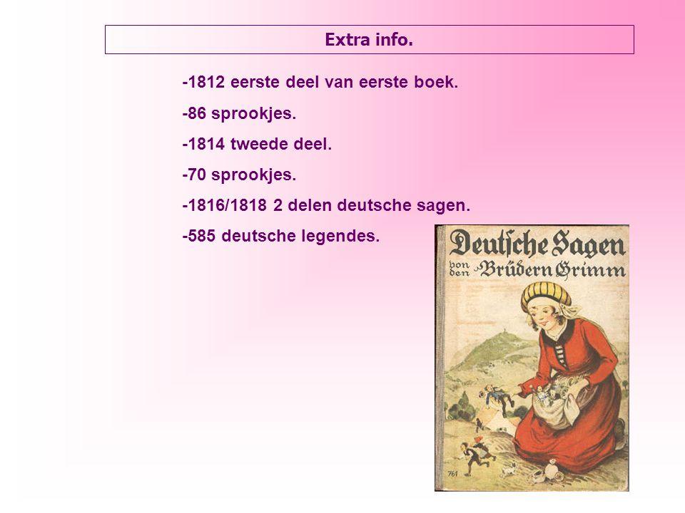Extra info. -1812 eerste deel van eerste boek. -86 sprookjes.