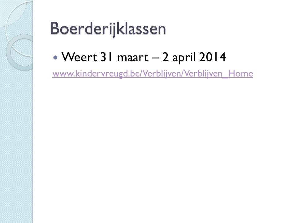 Boerderijklassen Weert 31 maart – 2 april 2014 www.kindervreugd.be/Verblijven/Verblijven_Home