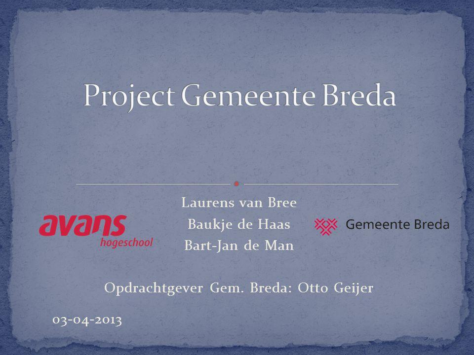 Laurens van Bree Baukje de Haas Bart-Jan de Man Opdrachtgever Gem. Breda: Otto Geijer 03-04-2013