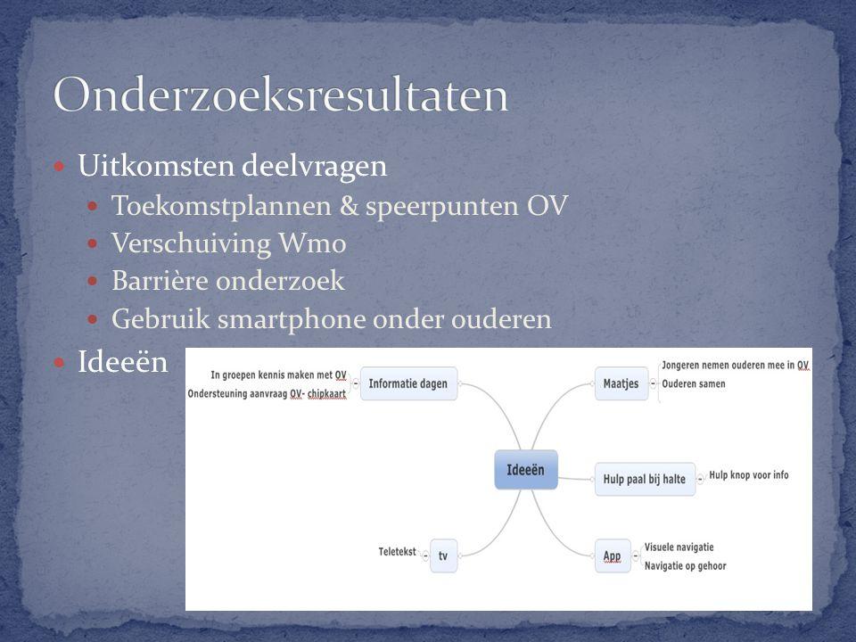 Uitkomsten deelvragen Toekomstplannen & speerpunten OV Verschuiving Wmo Barrière onderzoek Gebruik smartphone onder ouderen Ideeën