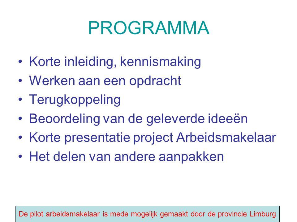 PROGRAMMA Korte inleiding, kennismaking Werken aan een opdracht Terugkoppeling Beoordeling van de geleverde ideeën Korte presentatie project Arbeidsma