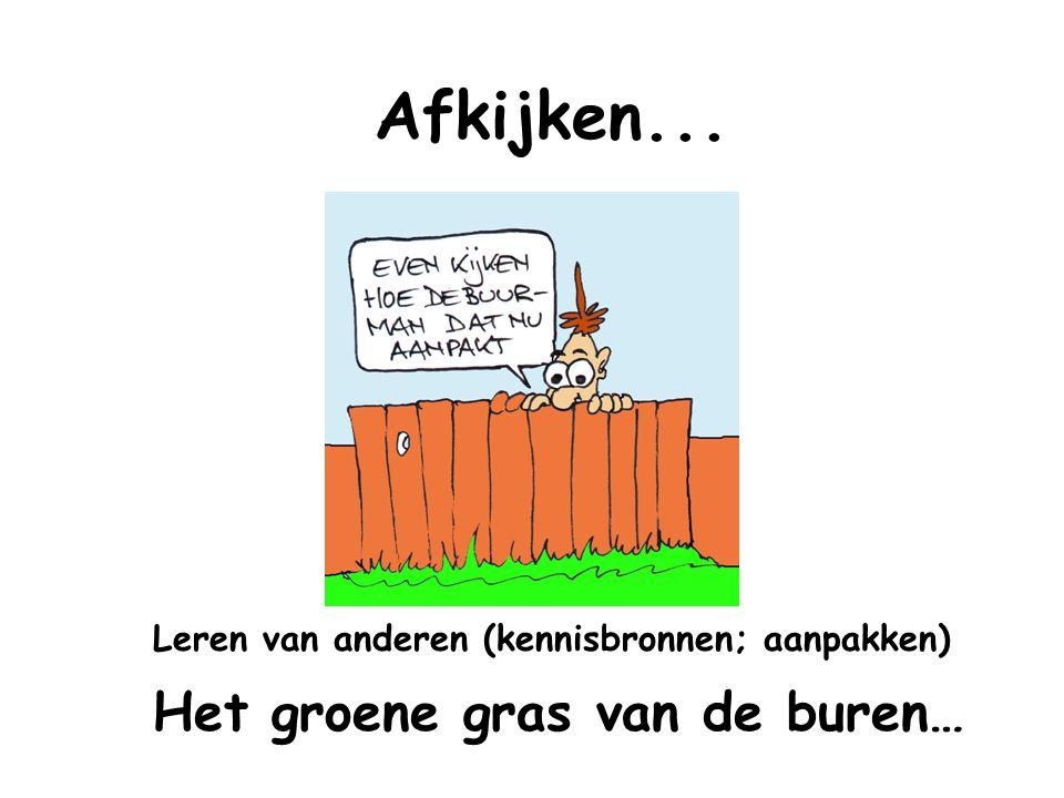 Afkijken... Leren van anderen (kennisbronnen; aanpakken) Het groene gras van de buren…