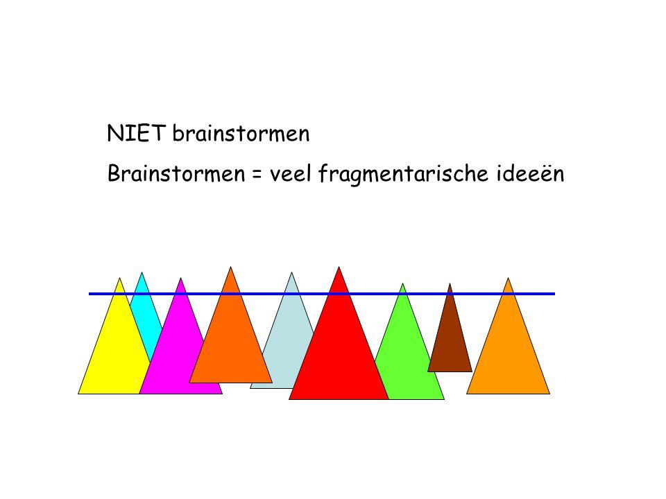 NIET brainstormen Brainstormen = veel fragmentarische ideeën