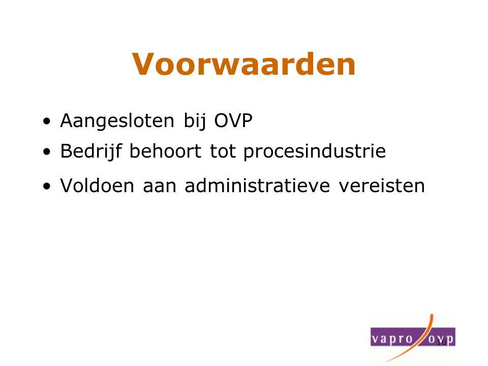 10 Voorwaarden Aangesloten bij OVP Bedrijf behoort tot procesindustrie Voldoen aan administratieve vereisten