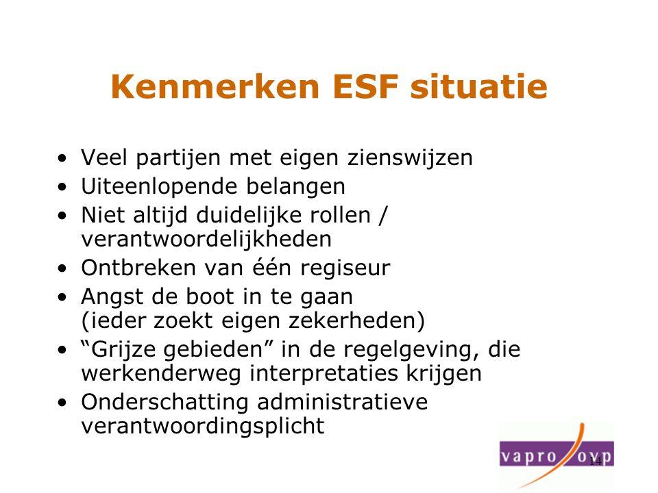 14 Kenmerken ESF situatie Veel partijen met eigen zienswijzen Uiteenlopende belangen Niet altijd duidelijke rollen / verantwoordelijkheden Ontbreken v
