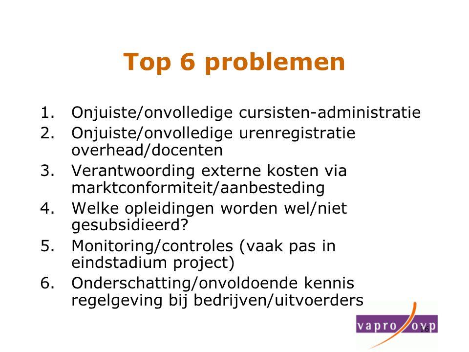 16 Top 6 problemen 1.Onjuiste/onvolledige cursisten-administratie 2.Onjuiste/onvolledige urenregistratie overhead/docenten 3.Verantwoording externe ko
