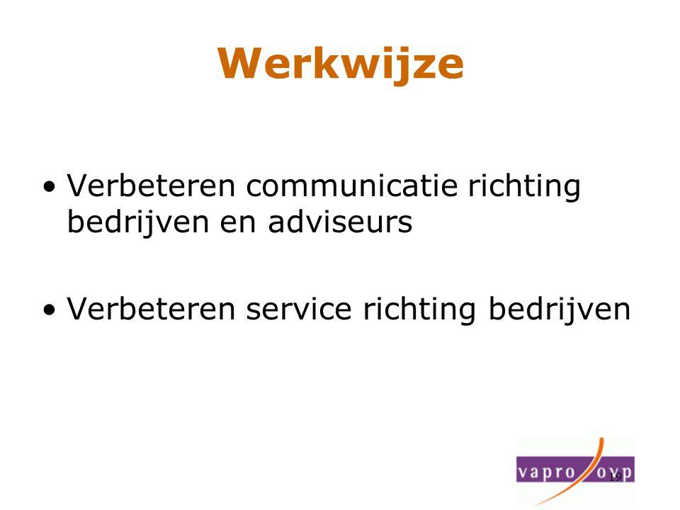 19 Werkwijze Verbeteren communicatie richting bedrijven en adviseurs Verbeteren service richting bedrijven