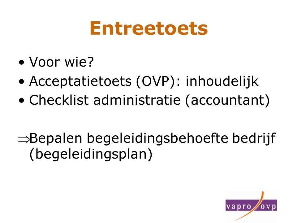 22 Entreetoets Voor wie? Acceptatietoets (OVP): inhoudelijk Checklist administratie (accountant) Bepalen begeleidingsbehoefte bedrijf (begeleidingspl