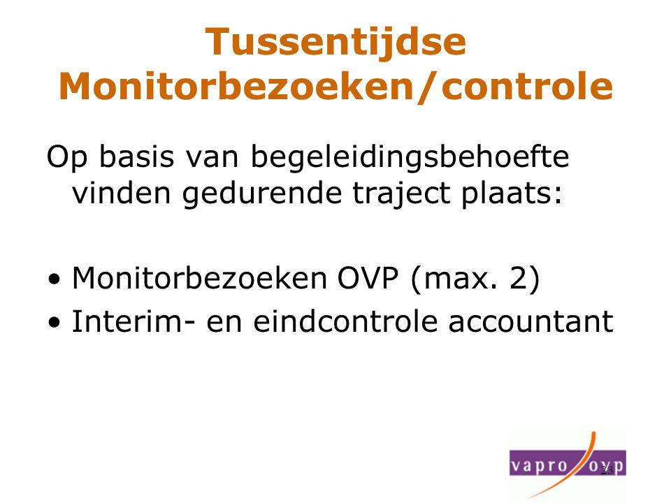 23 Tussentijdse Monitorbezoeken/controle Op basis van begeleidingsbehoefte vinden gedurende traject plaats: Monitorbezoeken OVP (max. 2) Interim- en e