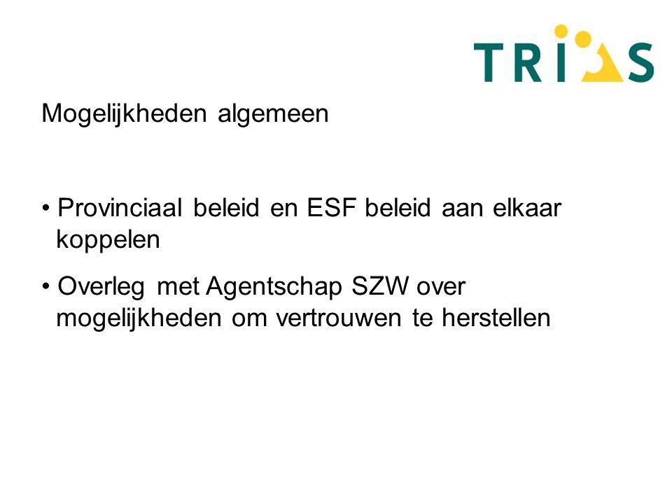 Mogelijkheden algemeen Provinciaal beleid en ESF beleid aan elkaar koppelen Overleg met Agentschap SZW over mogelijkheden om vertrouwen te herstellen