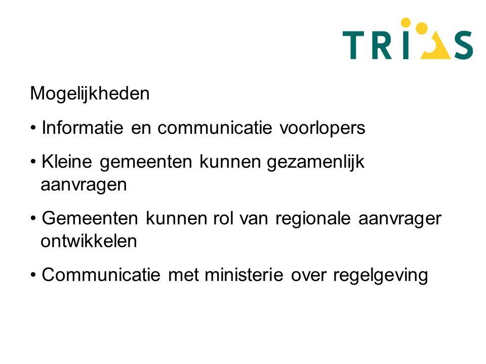Mogelijkheden Informatie en communicatie voorlopers Kleine gemeenten kunnen gezamenlijk aanvragen Gemeenten kunnen rol van regionale aanvrager ontwikkelen Communicatie met ministerie over regelgeving