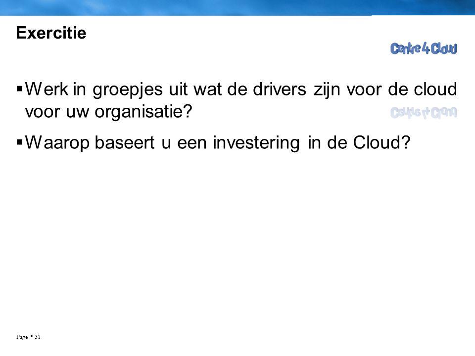 Page  31 Exercitie  Werk in groepjes uit wat de drivers zijn voor de cloud voor uw organisatie.