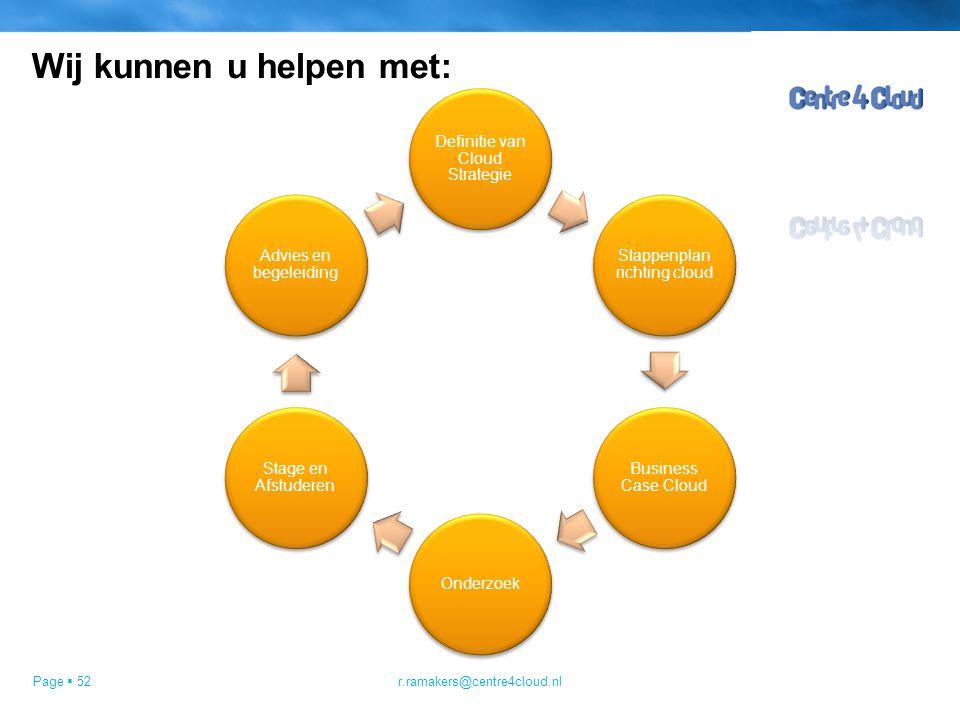 Page  52 Wij kunnen u helpen met: Definitie van Cloud Strategie Stappenplan richting cloud Business Case Cloud Onderzoek Stage en Afstuderen Advies en begeleiding r.ramakers@centre4cloud.nl