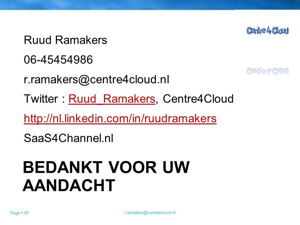 Page  55 BEDANKT VOOR UW AANDACHT Ruud Ramakers 06-45454986 r.ramakers@centre4cloud.nl Twitter : Ruud_Ramakers, Centre4CloudRuud_Ramakers http://nl.linkedin.com/in/ruudramakers SaaS4Channel.nl r.ramakers@centre4cloud.nl