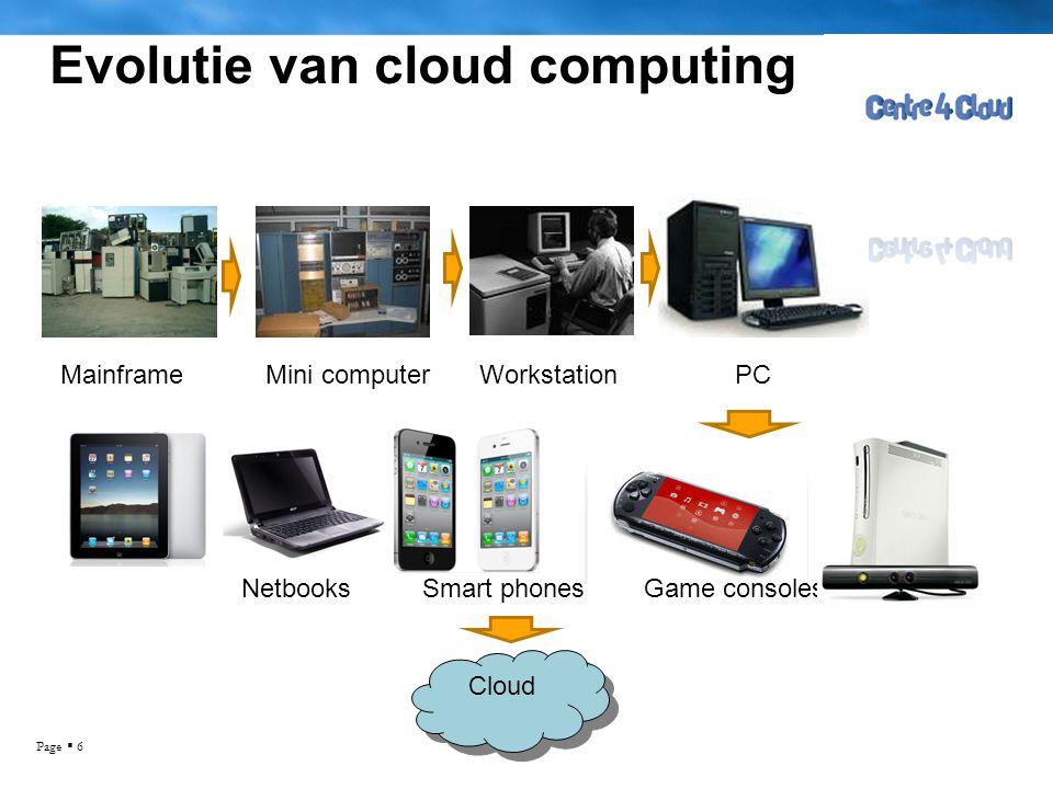 Page  6 Evolutie van cloud computing MainframeMini computerWorkstationPC NetbooksSmart phonesGame consoles Cloud