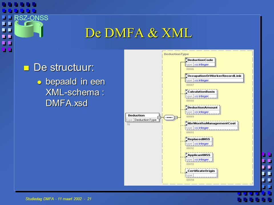 RSZ-ONSS Studiedag DMFA - 11 maart 2002 - 21 De DMFA & XML n De structuur: bepaald in een XML-schema : DMFA.xsd bepaald in een XML-schema : DMFA.xsd
