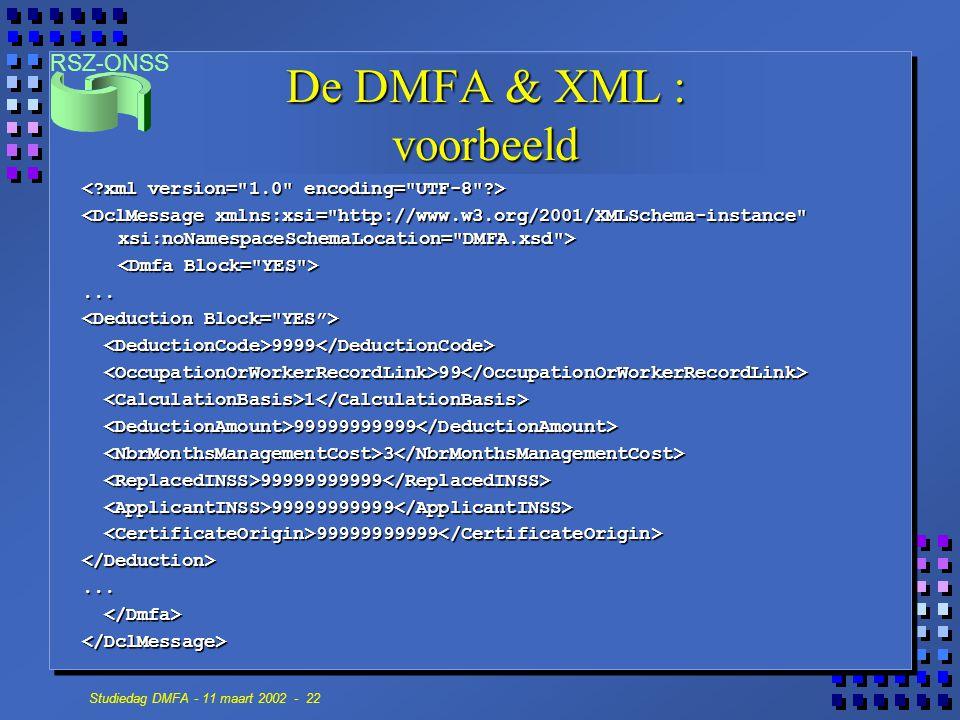 RSZ-ONSS Studiedag DMFA - 11 maart 2002 - 22 De DMFA & XML : voorbeeld... 9999 9999 99 99 1 1 99999999999 99999999999 3 3 99999999999 99999999999 </De