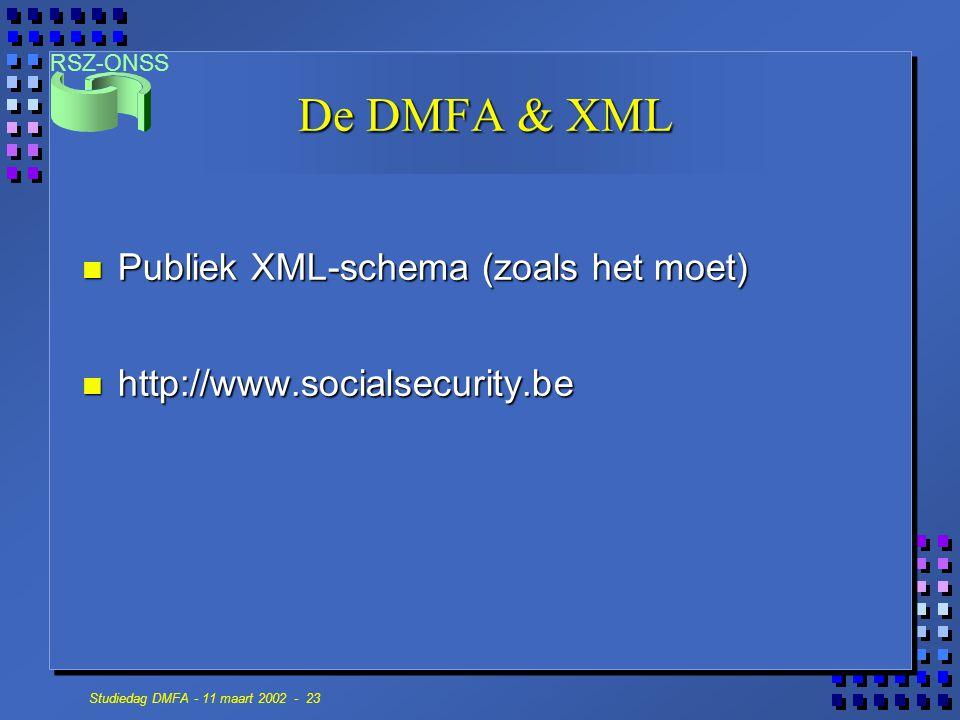 RSZ-ONSS Studiedag DMFA - 11 maart 2002 - 23 De DMFA & XML n Publiek XML-schema (zoals het moet) n http://www.socialsecurity.be