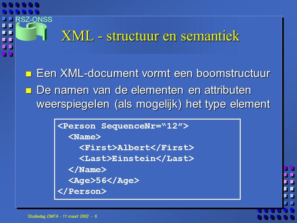 RSZ-ONSS Studiedag DMFA - 11 maart 2002 - 6 XML - structuur en semantiek n Een XML-document vormt een boomstructuur n De namen van de elementen en attributen weerspiegelen (als mogelijk) het type element Albert Einstein 56
