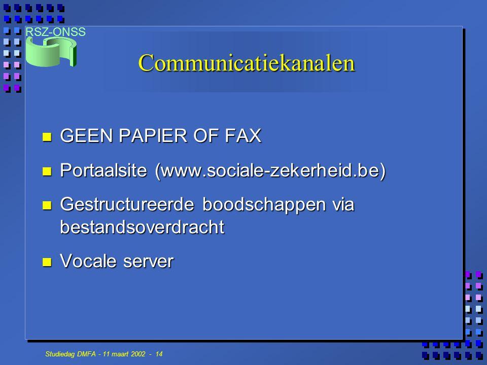 RSZ-ONSS Studiedag DMFA - 11 maart 2002 - 14 Communicatiekanalen n GEEN PAPIER OF FAX n Portaalsite (www.sociale-zekerheid.be) n Gestructureerde boods
