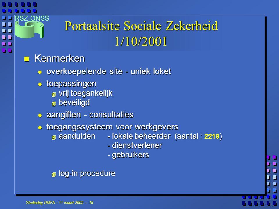 RSZ-ONSS Studiedag DMFA - 11 maart 2002 - 15 Portaalsite Sociale Zekerheid 1/10/2001 n Kenmerken overkoepelende site - uniek loket overkoepelende site