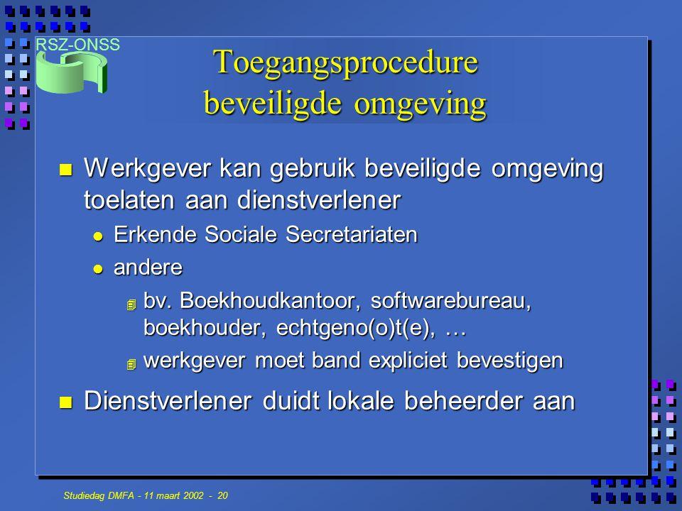 RSZ-ONSS Studiedag DMFA - 11 maart 2002 - 20 n Werkgever kan gebruik beveiligde omgeving toelaten aan dienstverlener Erkende Sociale Secretariaten Erk