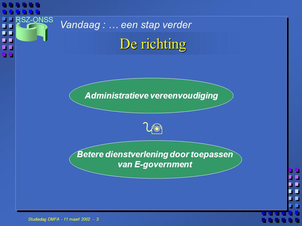 RSZ-ONSS Studiedag DMFA - 11 maart 2002 - 3 De richting Vandaag : … een stap verder Betere dienstverlening door toepassen van E-government Administrat