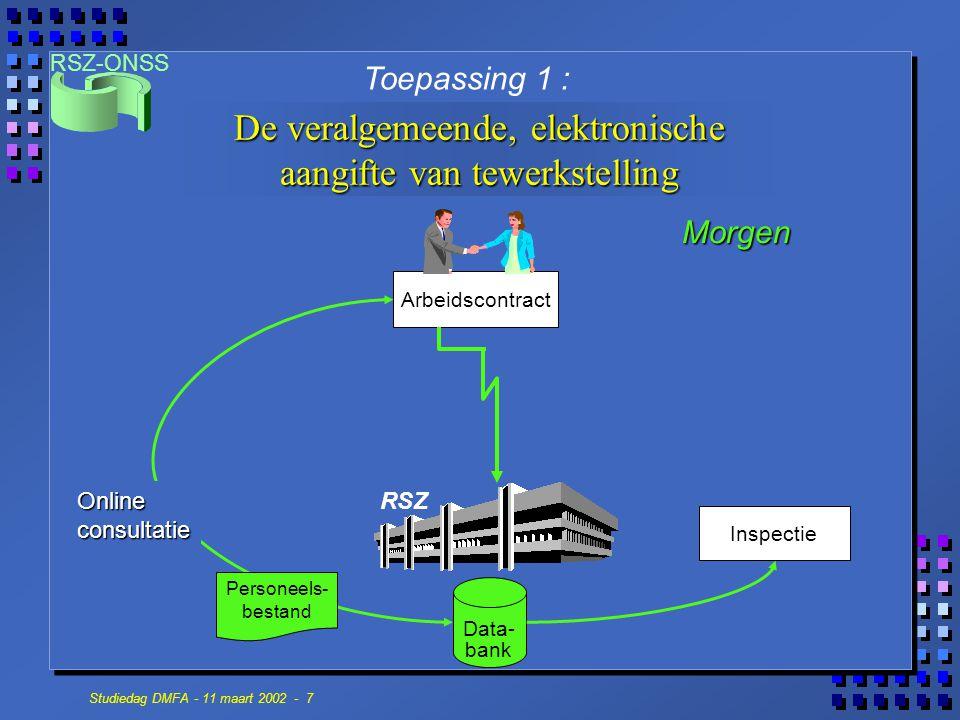 RSZ-ONSS Studiedag DMFA - 11 maart 2002 - 7 Data- bank Inspectie Arbeidscontract De veralgemeende, elektronische aangifte van tewerkstelling Toepassin