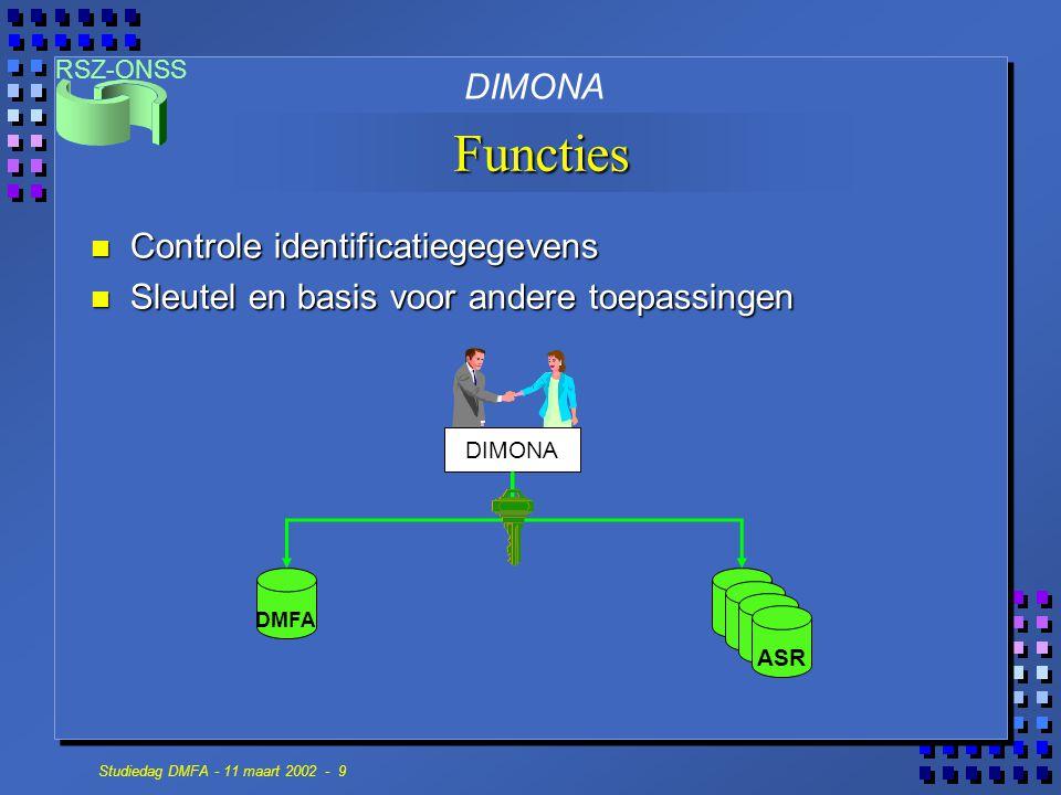RSZ-ONSS Studiedag DMFA - 11 maart 2002 - 9 Functies DIMONA DMFA ASR DIMONA n Controle identificatiegegevens n Sleutel en basis voor andere toepassing