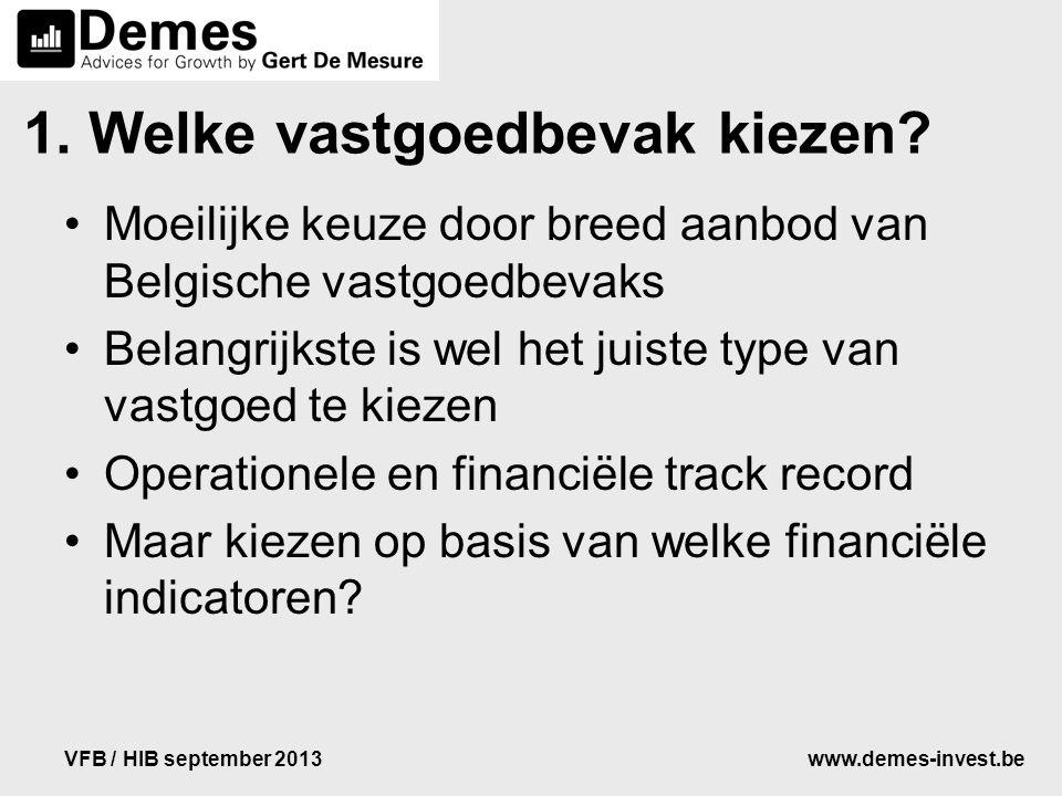 www.demes-invest.beVFB / HIB september 2013 1. Welke vastgoedbevak kiezen? Moeilijke keuze door breed aanbod van Belgische vastgoedbevaks Belangrijkst