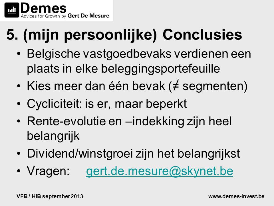 www.demes-invest.beVFB / HIB september 2013 5. (mijn persoonlijke) Conclusies Belgische vastgoedbevaks verdienen een plaats in elke beleggingsportefeu