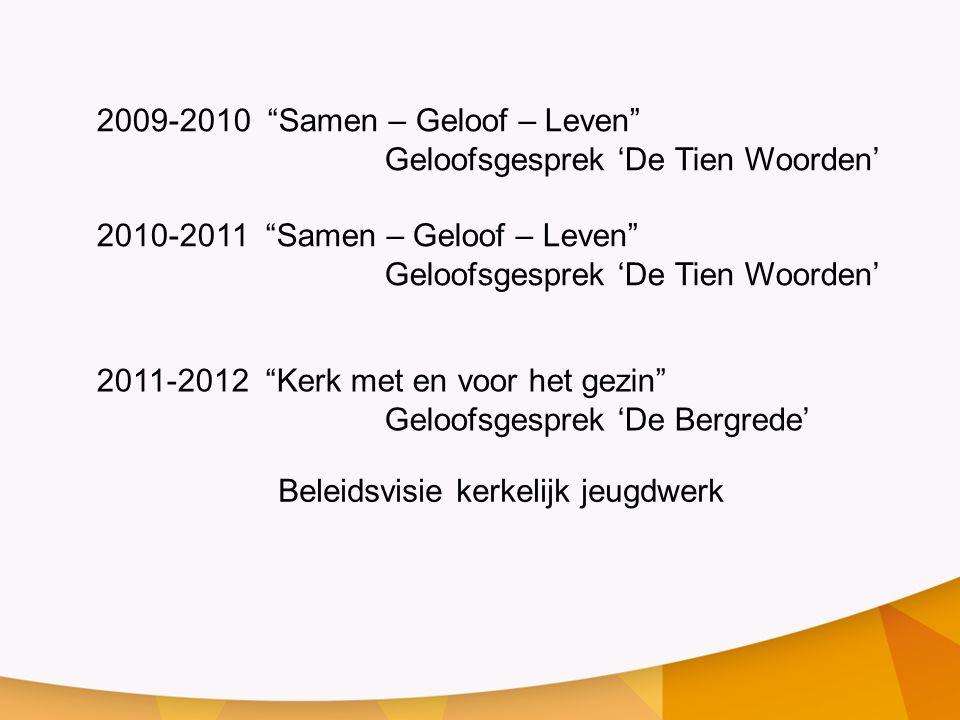 """2009-2010 """"Samen – Geloof – Leven"""" Geloofsgesprek 'De Tien Woorden' 2010-2011 """"Samen – Geloof – Leven"""" Geloofsgesprek 'De Tien Woorden' 2011-2012 """"Ker"""