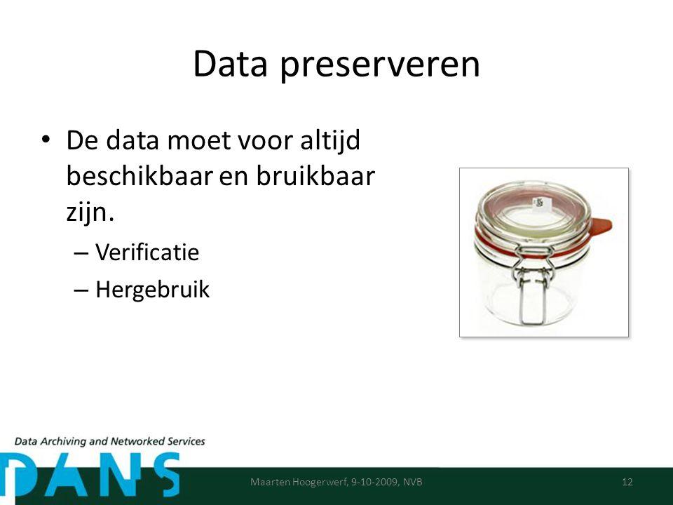 Data preserveren De data moet voor altijd beschikbaar en bruikbaar zijn.