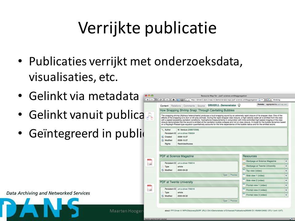 Verrijkte publicatie Publicaties verrijkt met onderzoeksdata, visualisaties, etc.