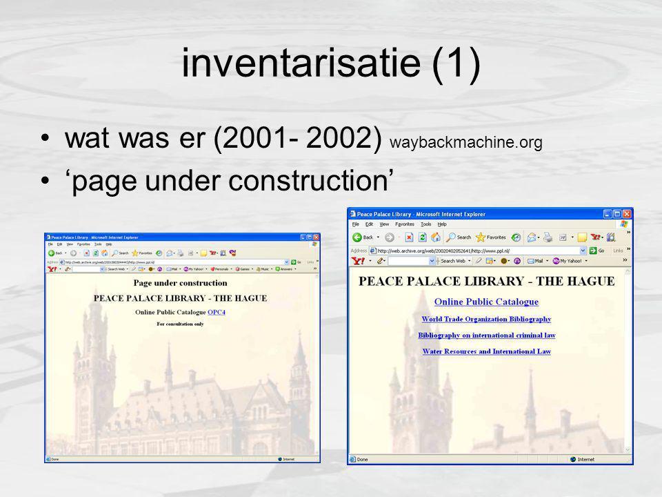 inventarisatie (2) website: link naar online catalogus, waarin onze boeken/ tijdschriftencollectie bibliografieen: iets van 4 pagina's met lijsten van boeken en artikelen over verschillende onderwerpen